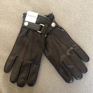 Men's NWT Coach Napa Brown Leather Gloves sz M